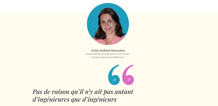 Zehira Haddad-Boussekou, responsable des enseignements en informatique du Cycle Préparatoire à l'ESME Sudria : « Pas de raison qu'il n'y ait pas autant d'ingénieures que d'ingénieurs »
